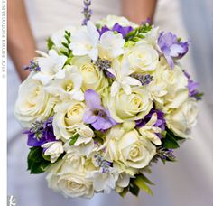 "The Bridal Bouquet  Talk about hand-picked: ""Our florist had us come to her farm and choose our flowers from her garden before our wedding,"" says Elizabeth. The rose, larkspur, lavender, tuberose and freesia mix felt organic and elegant at the same time."