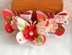 SALE - Valentine Butterfly Embellishments. -Flower- LOVE-                                                                                                                                                                                 More