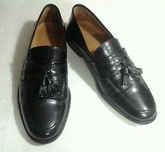 Johnson And Murphy Men's Black Tassle Dress Loafers Shoes  SZ 10 M Made in Italy
