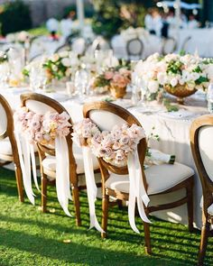 Standout blush flower head table chairs, perfect for the newlyweds. Blush Wedding Theme, Floral Wedding, Wedding Bouquets, Table Setting Inspiration, Wedding Cake Inspiration, Wedding Ideas, Wedding Table Settings, Wedding Chairs, Wedding Dress Gallery