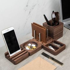 solid wood desk tidy modular set by man gun bear | notonthehighstreet.com