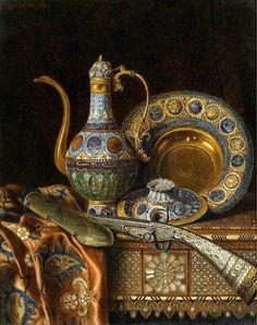 "stilllifequickheart: "" Max Schödl Still Life with Oriental Antiques 1886 "" Goldscheider, Arabian Art, Islamic Paintings, Turkish Art, Still Life Art, Arabian Nights, Beauty Art, Islamic Art, Art Drawings"