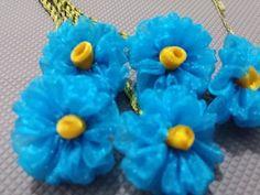 kurdele oyaları mavi gül çiçeği yapımı - YouTube