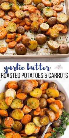 These easy Roasted Potatoes and Carrots are tossed in garlic butter and roasted to perfection - the perfect side dish for any meal With step by step recipe video roasted vegetables roasted carrots side dish recipe easy recipes easy dinner idea Healthy Side Dishes, Side Dish Recipes, Healthy Dinner Recipes, Vegetarian Recipes, Cooking Recipes, Easy Recipes, Dishes Recipes, Roasted Vegetable Recipes, Simple Vegetable Recipes