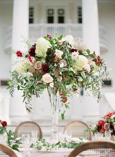 Tall Wedding Centerpieces, Wedding Table Flowers, Wedding Flower Decorations, Floral Centerpieces, Floral Wedding, Floral Arrangements, Wedding Bouquets, Tall Centerpiece, Trendy Wedding
