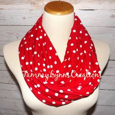 Red with White Polka Dot Cotton Spandex by tammylynnscreations