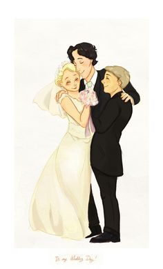 John 's wedding<----This reminds me of the Doctor and Amy and Rory. Sherlock is the Doctor, Mary is Amy, and John is Rory.<----- yes the Doctor and Sherlock are both the third wheel Sherlock Holmes, Fan Art Sherlock, Sherlock Fandom, Sherlock John, Jim Moriarty, Mary Watson Sherlock, Sherlock Quotes, Johnlock, Nerd