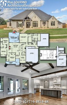 European House Plan with Vaulted Great Room Split bedroom floor plan. 4 Bedroom House Plans, Ranch House Plans, Craftsman House Plans, Ranch Floor Plans, Acadian House Plans, Craftsman Ranch, Basement Floor Plans, Kitchen Floor Plans, House Plans One Story