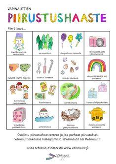 Tältä sivulta löydät piirtämiseen liittyviä tehtäviä!Klikkaa kuvaa ja pääset tallentamaan ja tulostamaan PDF-tiedoston. Free Coloring Pictures, Finnish Language, Primary School Teacher, Fantasy Forest, Treasure Maps, Drawing Challenge, Busy Life, Early Childhood Education, Pictures To Draw