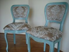 Pair of Aqua Blue & Brown Shabby Glam Hand Painted Wood Chairs.  I don't like the upholstry, but like the blue.