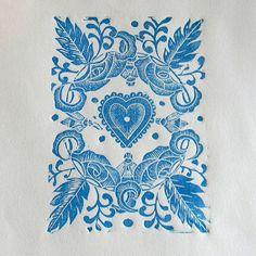 Decorative lino print by Mangle Prints, via Flickr