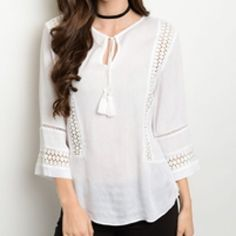Pretty Boho white tie blouse! Tie top with 3qtr bell sleeves with crochet detail!- Beautiful! Tops Blouses