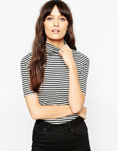 ASOS Turtle Neck Top In Stripe With Short Sleeve