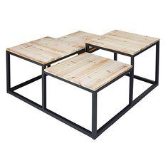 Mesa baja con 4 tableros de abeto macizo y metal negro