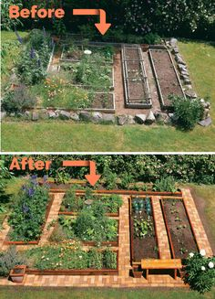 One of the best garden ideas! Build Your Own Vegetable Garden with Brick Pathways.