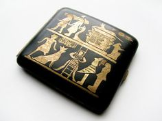 Vintage Cigarette Case with Inlay Egyptian Motif in by MyChouChou, $45.00
