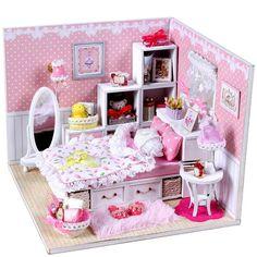 Wooden Dolls House Dollhouse DIY Miniature Kit w/ All Furniture Light Ideal Gift | eBay