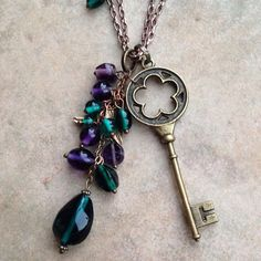 NEW Adonia Key Necklace Renaissance Purple Emerald Glass Hand Beaded Statement Necklace Vintage Skeleton Key Goldtone Antique Style on Etsy, $19.00