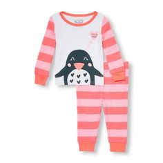 Place Shops Baby And Toddler Long Striped Sleeve 'I Love You Daddy' Penguin Top And Striped Pants Pj Set - White - The Children's Place