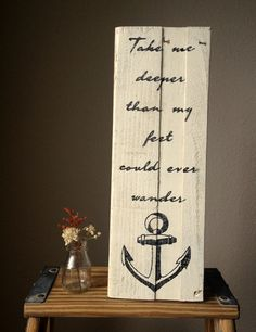Rustic reclaimed wood wall or shelf art: Anchor & Quote. Hillsong United