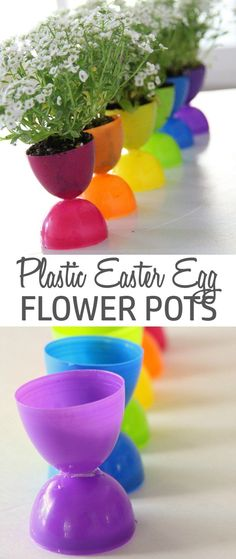 Plastic Easter Egg Pots | Easter Decorations | Easter Table Settings | Rainbow Easter | www.madewithHAPPY...