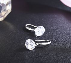 34b1cf2aa864 SBLING Platinum-Plated Sterling Silver Drop Earrings Made with Swarovski  Crystals cttw) -- For more information