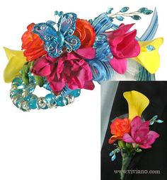 'Free Spirit' - for the bright soul who seems to float across the dance floor! Prom corsage in fuchsia, orange, aqua, and yellow: mini calla lilies, freesia, begonias, airy tulle puffs, ribbon, butterfly, and bead sprays on the turquoise Gum Drop bracelet. Shown with the matching boutonniere. #VivianoFlowerShop