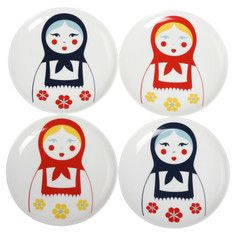 Babushka Plate Set Of 4, $9.50, now featured on Fab.