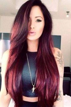 Wine red hair color is such a popular trend this season. The perfect blend of br… Wine red hair color is such a popular trend … Wine Red Hair Color, Hair Color Asian, Hot Hair Colors, Cool Hair Color, Asian Red Hair, Red Hair For Cool Skin Tones, Red Velvet Hair Color, Asian Ombre, Tan Asian