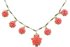 French Coral Flower Necklace