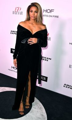 Ciara and her bump stunned in a velvet slip dress by Rhea Costa for the Harper's Bazaar Celebrates 150 Most Fashionable Women event in West Hollywood.