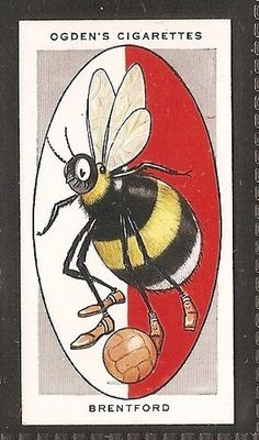 """Ogden's Cigarettes """"Association Football Club Nicknames"""" (series of 50 issued in Brentford """"The Bees"""" Afc Football, British Football, English Football League, Retro Football, Football Cards, Brentford Fc, Bristol Rovers, Jersey Atletico Madrid, Basketball"""