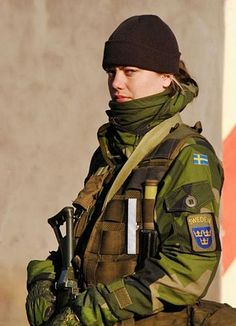 Swedish female special operative with the proper warface to go with the job. Present.