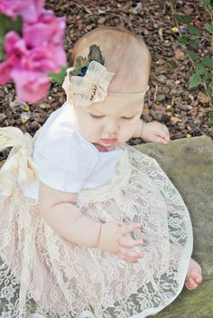 Luxe Lace Infant Shabby Chic Tutu Onesie Dress by chachalouise, $62.50