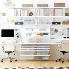 White elfa décor Home Office Office Wall Organization, Home Office Storage, Home Office Design, Home Office Decor, Organization Ideas, Office Ideas, Office Designs, Design Offices, Office Style