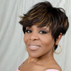 Tanya Wig – LE'HOST HAIR  Short & spikey cropped cut, slightly longer on single side, auburn highlight, closure top.
