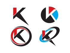 Set of letter K logo icons design template elements. Letter K, Letter Logo, Icon Design, Logo Design, K Logos, Premium Fonts, New Fonts, Logo Templates, Decoration