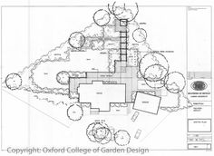 Country garden plan with central terrace area and pergola leading to secondary sitting area and lawn areas re-orientating the garden at 90 degrees