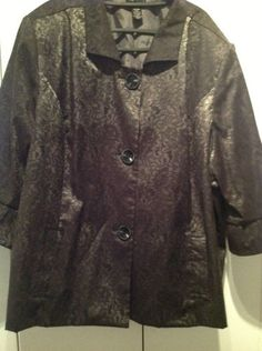 New Maggie Barnes Black Embossed Jacket Plus Size 4X 30/32 Cotton/Spandex  $16.99  *bidding ends today!