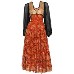 Thea Porter Rose Lace Chiffon Dress   From a collection of rare vintage day dresses at https://www.1stdibs.com/fashion/clothing/day-dresses/