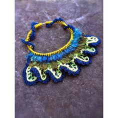 Handmade Jewelry Crochet Free Form Necklace Blue Green Peacock Unique... ($112) ❤ liked on Polyvore featuring jewelry and necklaces