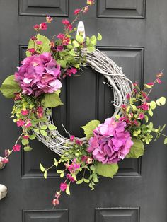 Bleached-style Spring Wreath with Purple Hydrangeas by EnchantedVines on Etsy
