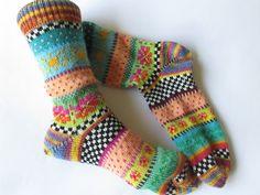 "Colorful socks from the Flensburg socks design company Colorful ""good mood"" So . Colorful socks from the Flensburg sock designer. Colorful ""good mood"" socks - these Fair Isle socks are a colo. Knitting Wool, Knitting Socks, Hand Knitting, Knitting Patterns, Crochet Socks, Knit Or Crochet, Knit Socks, Pineapple Socks, Socks"