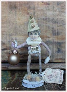 Nostalgischer Christbaumschmuck Wattefigur Harlekin spun cotton Ornament spuncotton
