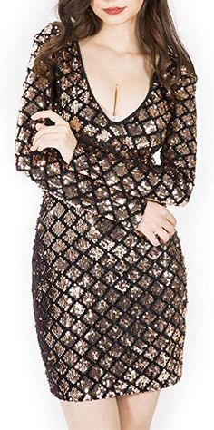 a2a144b8bdf7  SOMTHRON Women s Geo Grid Bodycon Sequin Short Dresses Long Sleeve  Plunging Lattice Mini Party Dress