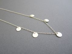 5 Sterling Silver disc Coin Necklace Silver necklace by Muse411