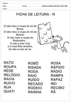 Ficha de Leitura Letra R - Rato Portuguese Lessons, Myla, Spanish Class, Professor, Homeschool, Education, Reading Activities, Cursive, Therapy