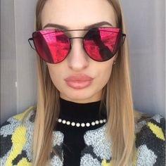 • oversized mirrored cateye red/black sunglasses • Brand new- 10% off bundles- available in  other colors Accessories Sunglasses