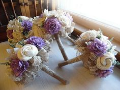 Ships in 4 weeks Small Bridesmaid Bouquets. Purple accents
