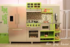 DIY Stainless and Green Play Kitchen